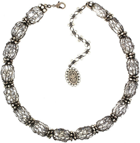 necklace Ice Cocoon white antique silver medium