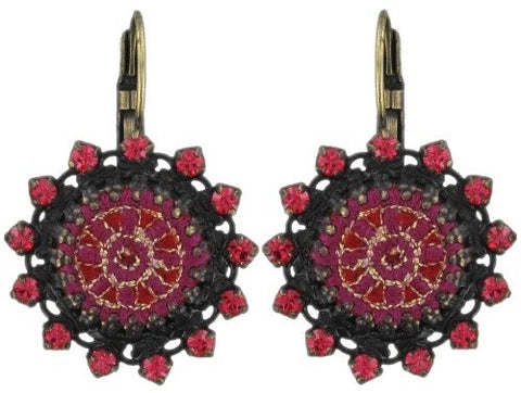 earring eurowire Kalinka red antique brass
