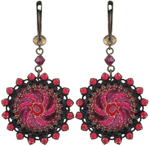 earring dangling Kalinka red antique brass