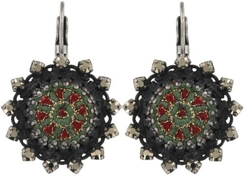 earring eurowire Kalinka dark green antique silver