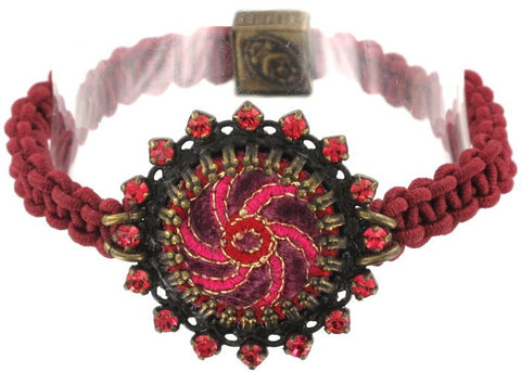 bracelet elastic Kalinka red antique brass