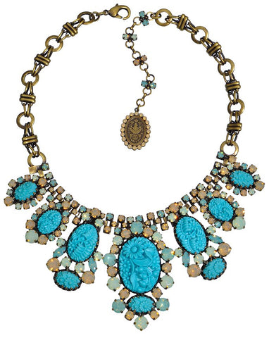 necklace collier Victoria turquoise antique brass
