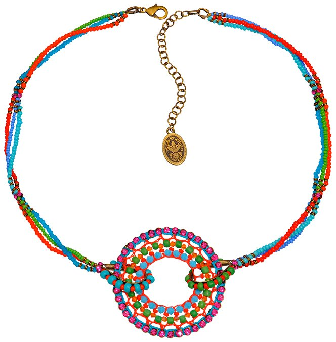 necklace Paisley African multi antique brass