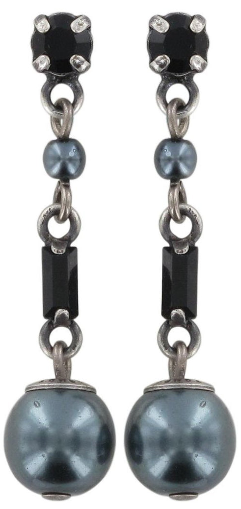 earring stud dangling Pearl Shower black antique silver