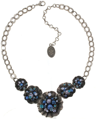 necklace Cupcake blue antique silver small