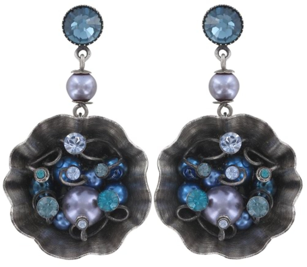 earring stud dangling Cupcake blue antique silver