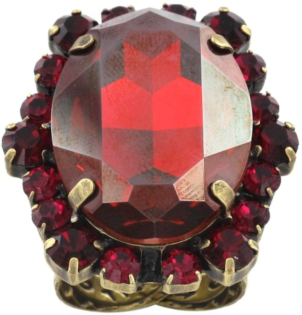ring Blood Bite red antique brass