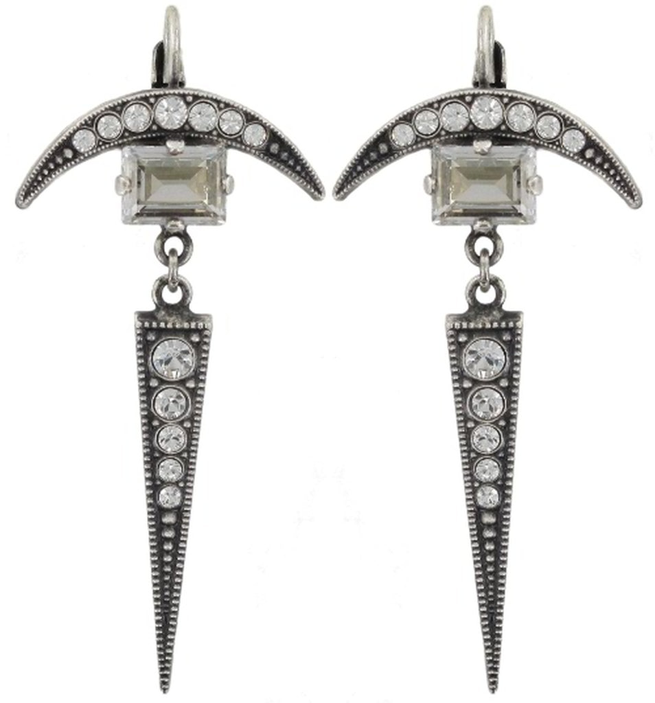 earring eurowire dangling Art Deco Oriental white antique silver