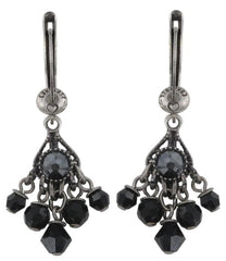 earring dangling Cupcake black antique silver