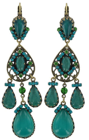 earring eurowire dangling Indian Paradise green antique brass