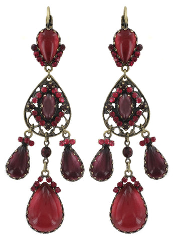earring eurowire dangling Indian Paradise red antique brass