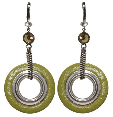 earring dangling Eternal Rings light green antique silver