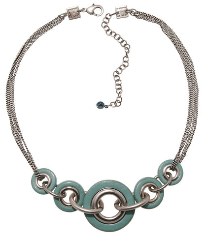 necklace Eternal Rings lt.blue antique silver