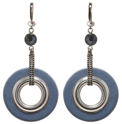 earring dangling Eternal Rings blue antique silver