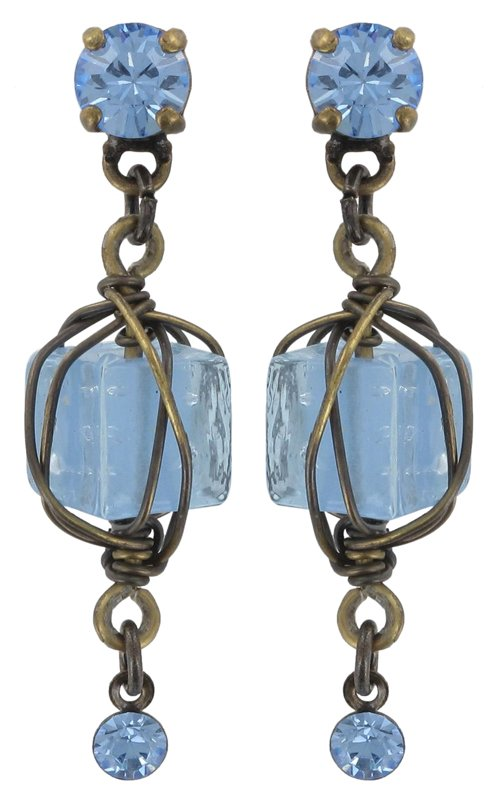 earring stud dangling Antigone multi antique brass