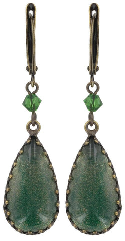 earring dangling Indian Paradise green antique brass