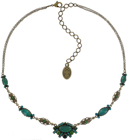 necklace Indian Paradise green antique brass