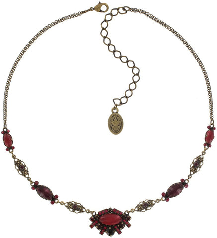 necklace Indian Paradise red antique brass
