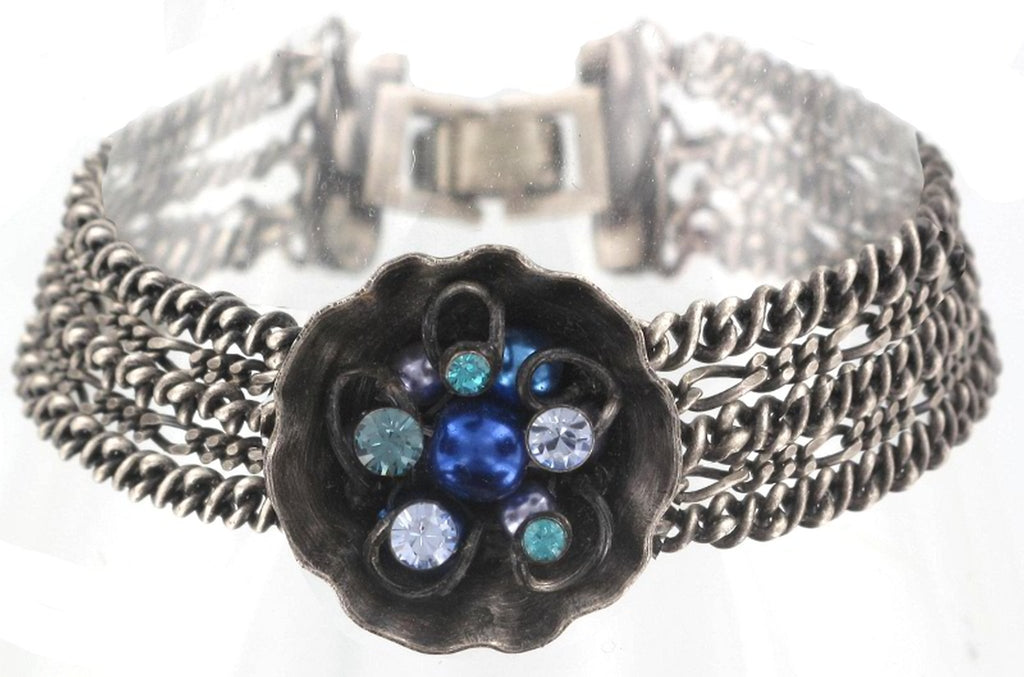 bracelet Cupcake blue antique silver