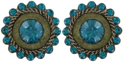earring stud Tribal blue/green antique brass