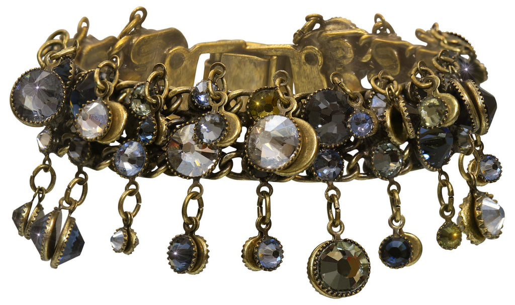 bracelet Waterfalls blue/grey antique brass