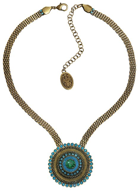 necklace Tribal blue/green antique brass