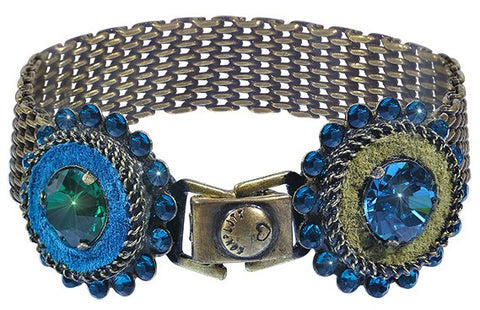 bracelet Tribal blue/green antique brass