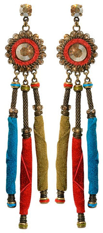 earring stud dangling Tribal multi antique brass