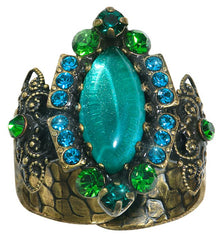 ring Indian Paradise green antique brass