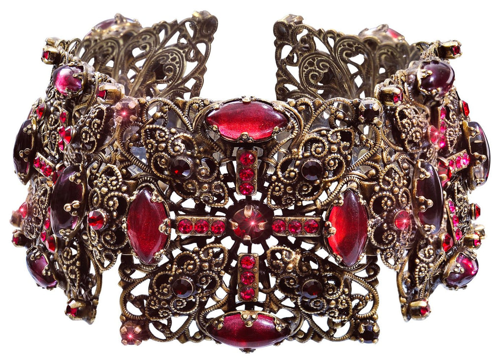 bracelet Indian Paradise red antique brass