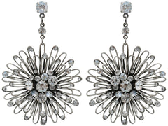 earring stud dangling Distel white antique silver large