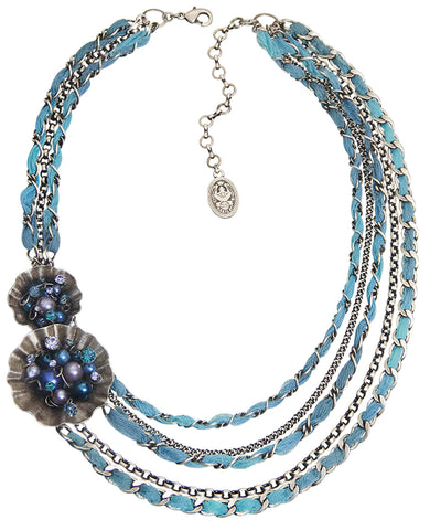 necklace Cupcake blue antique silver