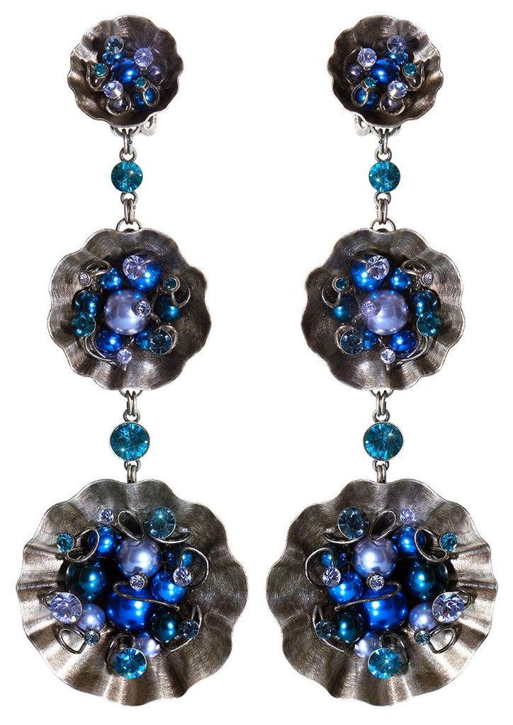 earring clip dangling Cupcake blue antique silver