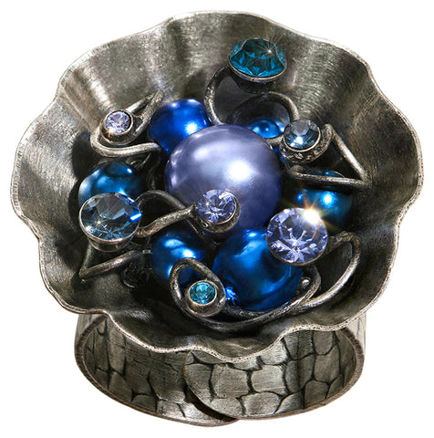 ring Cupcake blue antique silver
