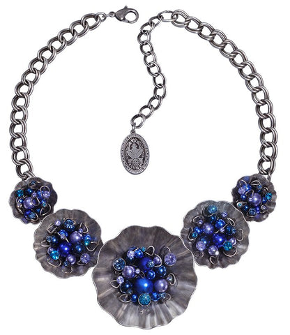 necklace collier Cupcake blue antique silver Big