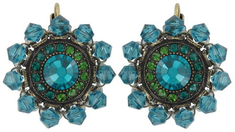 earring eurowire Maharani blue/green antique brass small