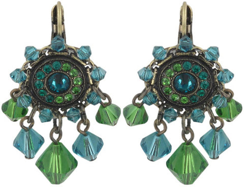earring eurowire dangling Maharani blue/green antique brass