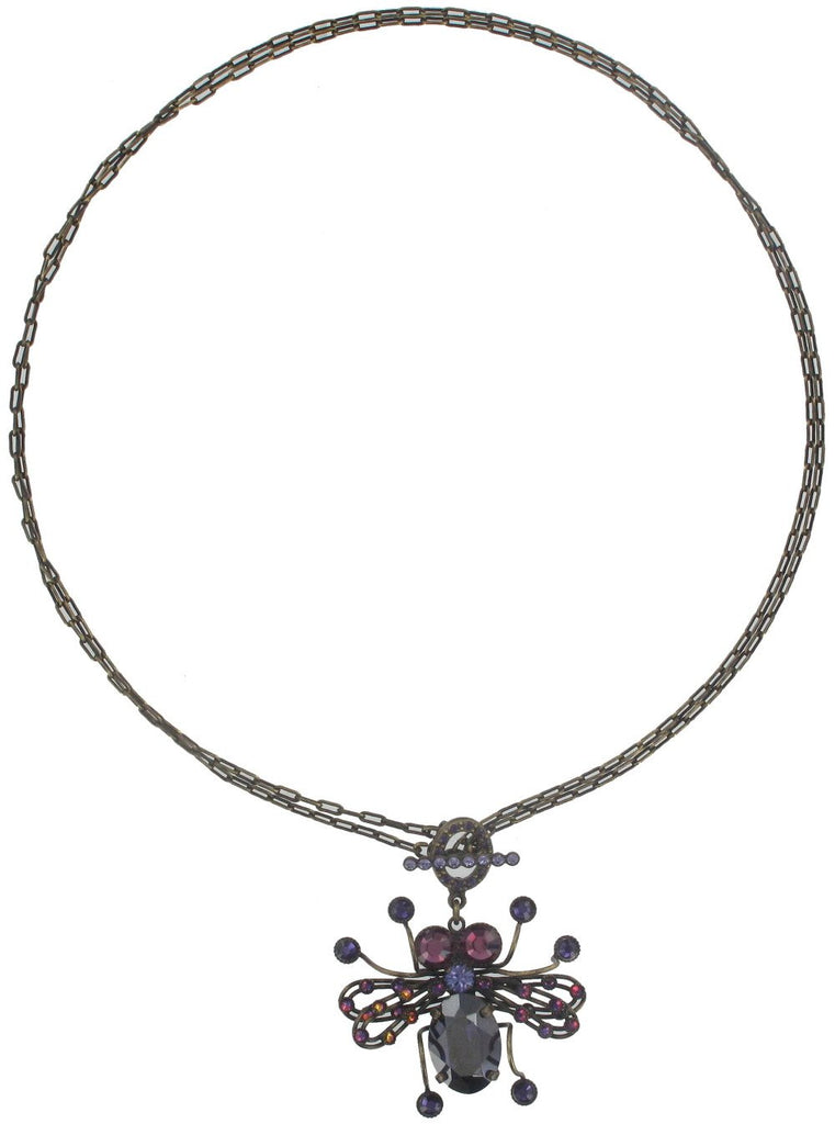 necklace Clubbing Bugs lila antique brass
