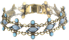 bracelet Filigree blue Light antique brass
