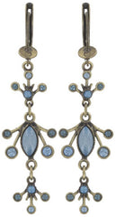 earring dangling Filigree blue Light antique brass