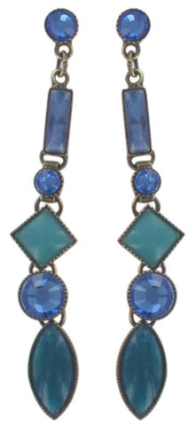 earring stud dangling Ethnic Mosaic blue/green antique brass