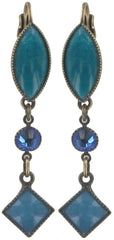 earring eurowire dangling Ethnic Mosaic blue/green antique brass