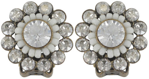 earring clip Gipsy Sport white Light antique brass extra small