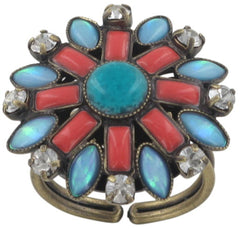 ring Ethnic Mosaic multi antique brass extra small