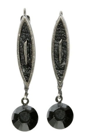 earring eurowire dangling City Amazon black antique silver