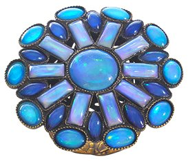 ring Ethnic Mosaic blue/green antique brass