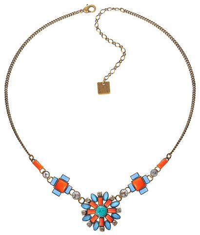 necklace Ethnic Mosaic multi antique brass