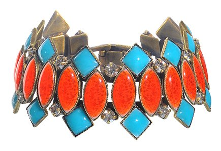 bracelet Ethnic Mosaic multi antique brass 18,5 cm