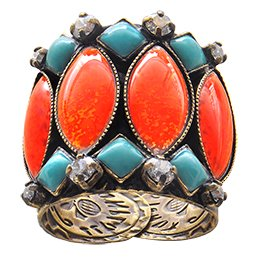 ring Ethnic Mosaic multi antique brass