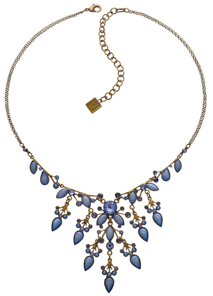 necklace Filigree blue Light antique brass